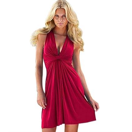 Vestidos Mujer Verano 2018,La moda de la mujer V cuello puro vaina slip Vestido