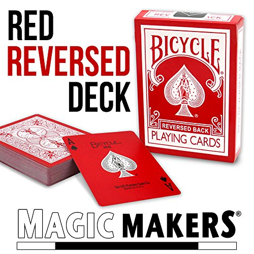 Magic Makers Bicycle Reverse Back Red Deck - Including Extra Gaff Cards for Performing Magic