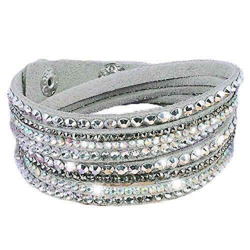 Armband Wrap Kaskade Slake Strasssteine Brillant Kristall Leder Wildleder Grau