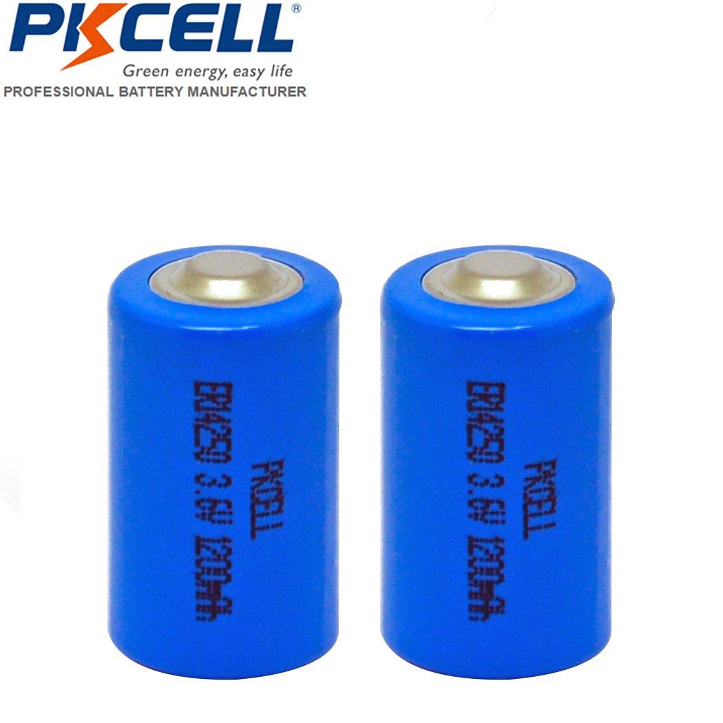 2 Pack 1/2AA ER14250 1200mAh 3.6V Li-SOCl2 Lithium Battery for Snuza baby monitor, Mac computers PKCELL