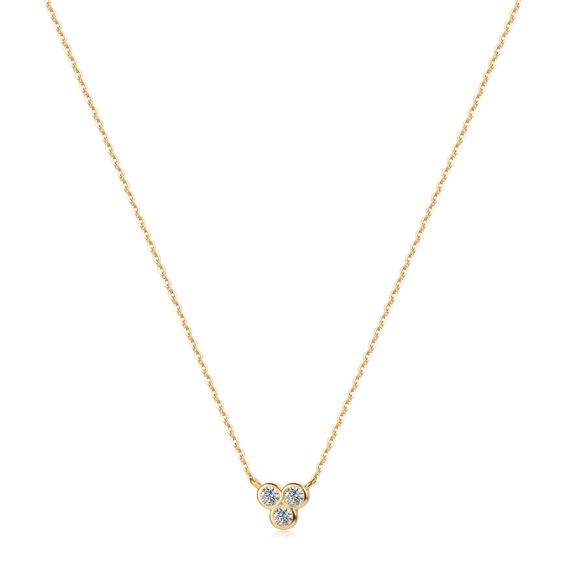 Mevecco Gold Dainty Necklace 14K Gold Plated Cute Horizontal Hammered Cubic Zirconia Evil Eye Heart Necklace for Women