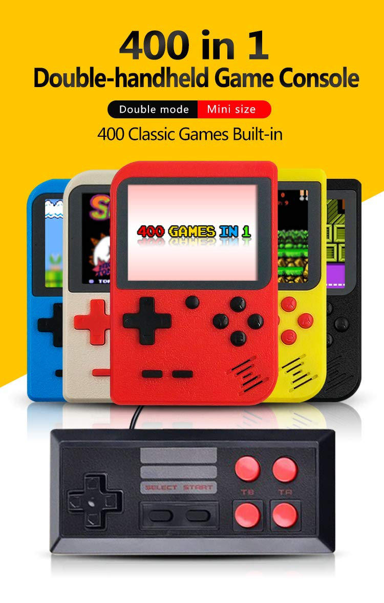DigitCont Retro Mini Handheld Arcade, Built-in with 400 Classic Games Double Players Mode Miniature Console Handheld Portable Game Cabinet Machine Rechargeable Battery Inside Support Connect TV Red by DigitCont (Image #3)