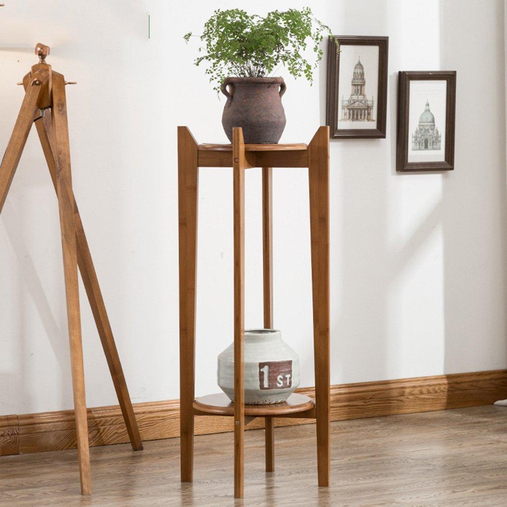 &Macetero Soporte de flores de madera maciza Soporte de flores de bambú Sala de estar interior Bonsai multicapa Macetas decorativas ( Color : A ) LYM