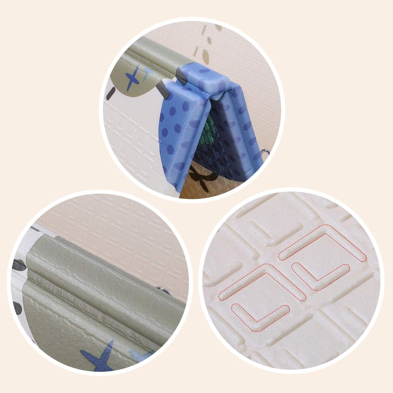 No T/óxico XPE Piso de Espuma Antideslizante Ambos Lados Port/átil Impermeable Plegable para Insectos Sin Olor para Ni/ños Peque/ños Patr/ón de Dibujos Animados Bamny Alfombra de Juego para Beb/és