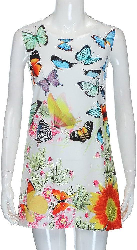pitashe Women Mini Dress Vintage Boho Ladies Summer Sleeveless Beach 3D Floral Printed Short Mini Tank Vest Dresses Sundress Casual Plus Size Dress