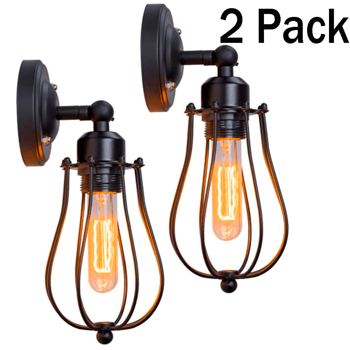 Wire Cage Wall Sconce Licperron Adjustable Industrial Wall Sconce 2 Pack Vintage Style Bedroom Garage Porch Mirror(Bulbs not included)