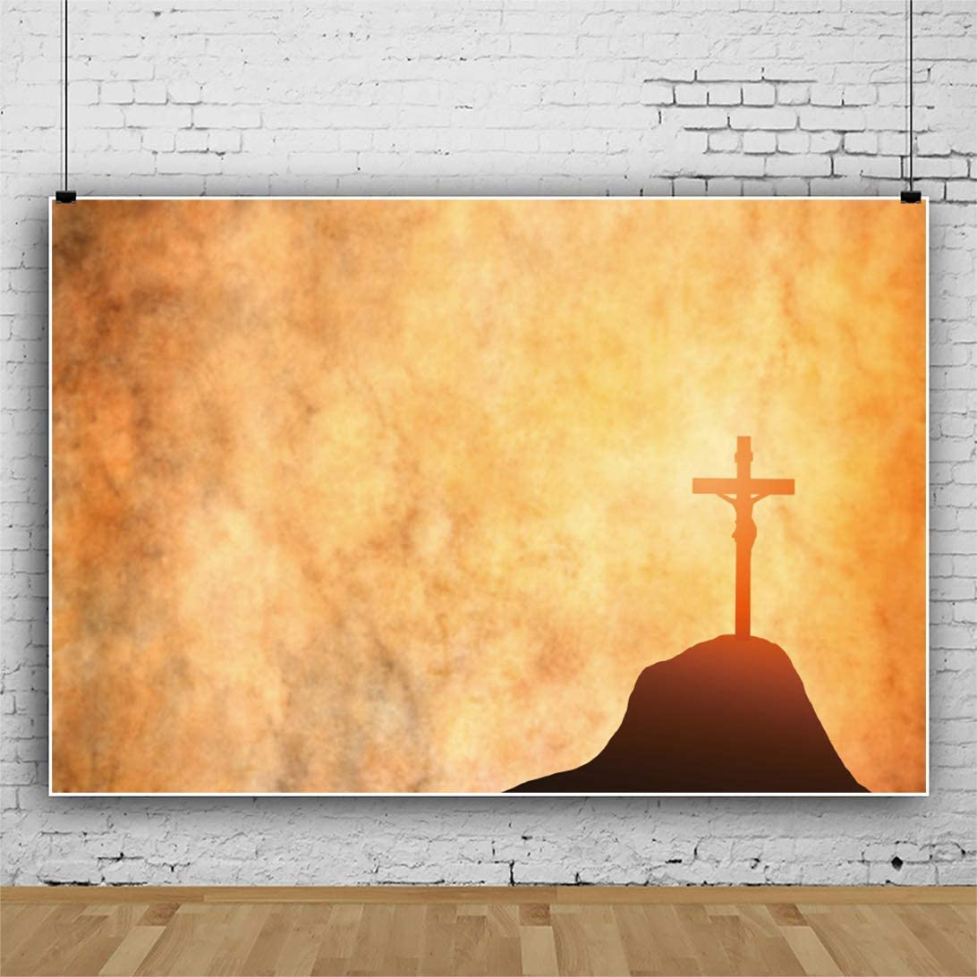 Jesus was Crucified Photography Background 10x7ft Crucifixion Silhouette Sunlight Backdrop Calvary Highland God Jesus Suffering Cross Blur Color Orange Yellow Church Decor Portrait Shoot