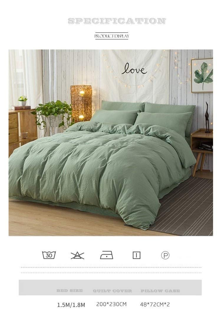 GODPASS Bedding Sets Duvet Cover Set Soft Luxury Microfiber Comforter Cover with Zipper Closure 3pcs, Green,Queen