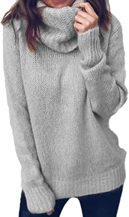 Women Long Sleeve Knitted Jumper  Shirt Pullover Oversized Baggy Sweater Tops