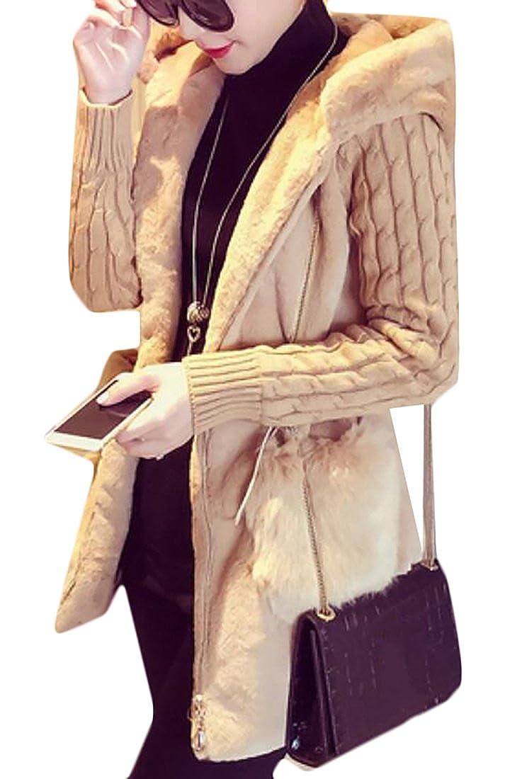 Frieed Women Warm Knit Patchwork Hooded Zipper Faux Fur Long Jacket Coat