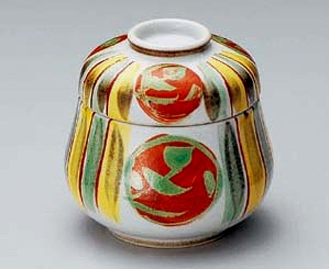 十草 赤丸紋 だるま型 7.7㎝ 蒸し碗10点セット 茶碗蒸しや蒸し物料理に B00LE62MU0