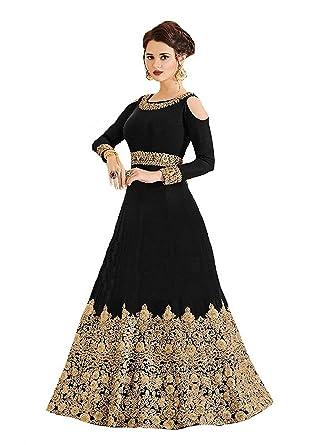 7c294132ac Range Of India Women's Anarkali Salwar Kameez Designer Indian Dress Ethnic  Party Embroidered Gown Black
