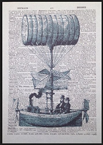 Steampunk Airship Hot Air Balloon Vintage Dictionary Page Wall Art Picture Print homemade