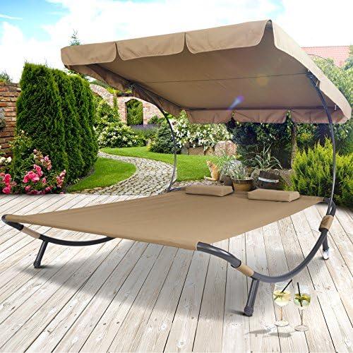 Miadomodo - Tumbona para dos personas con techo, tumbona de jardín con toldo, aprox. 200 x 173 x 148 cm, en 3 ...
