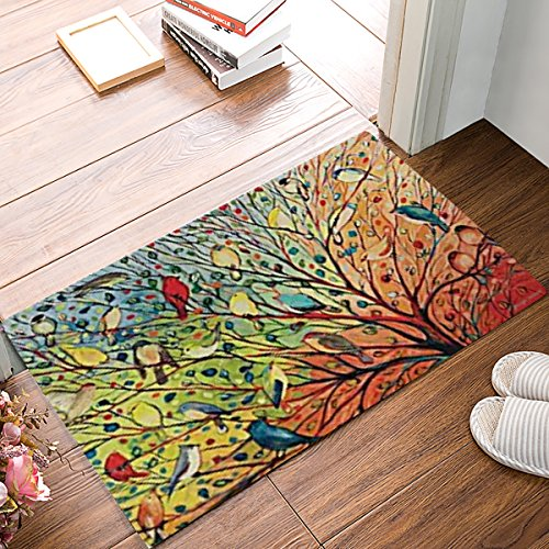 Tree Entrance (Colorful Garden Tree Branch Birds Door Mats Indoor Kitchen Floor Bathroom Entrance Rug Mat Carpets Home Decor Absorbent Bath Doormats Rubber Non Slip 18 x 30 Inch)
