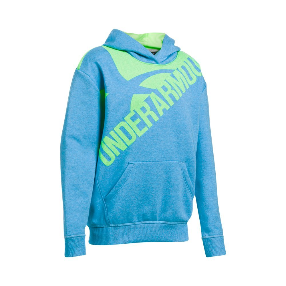 Under Armour Girls' Threadborne Novelty Fleece Hoodie,Blue Shift /Quirky Lime, Youth Small