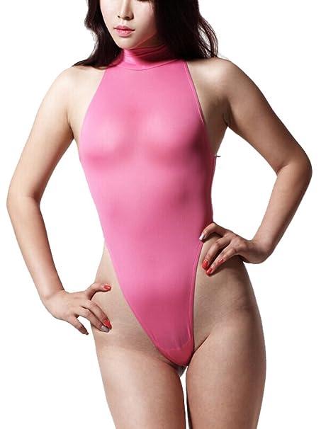9cf3fdd75 LinvMe Women s Sexy Thong Leotard Backless High Neck High Cut Sleeveless  Sheer Bodysuit S Pink