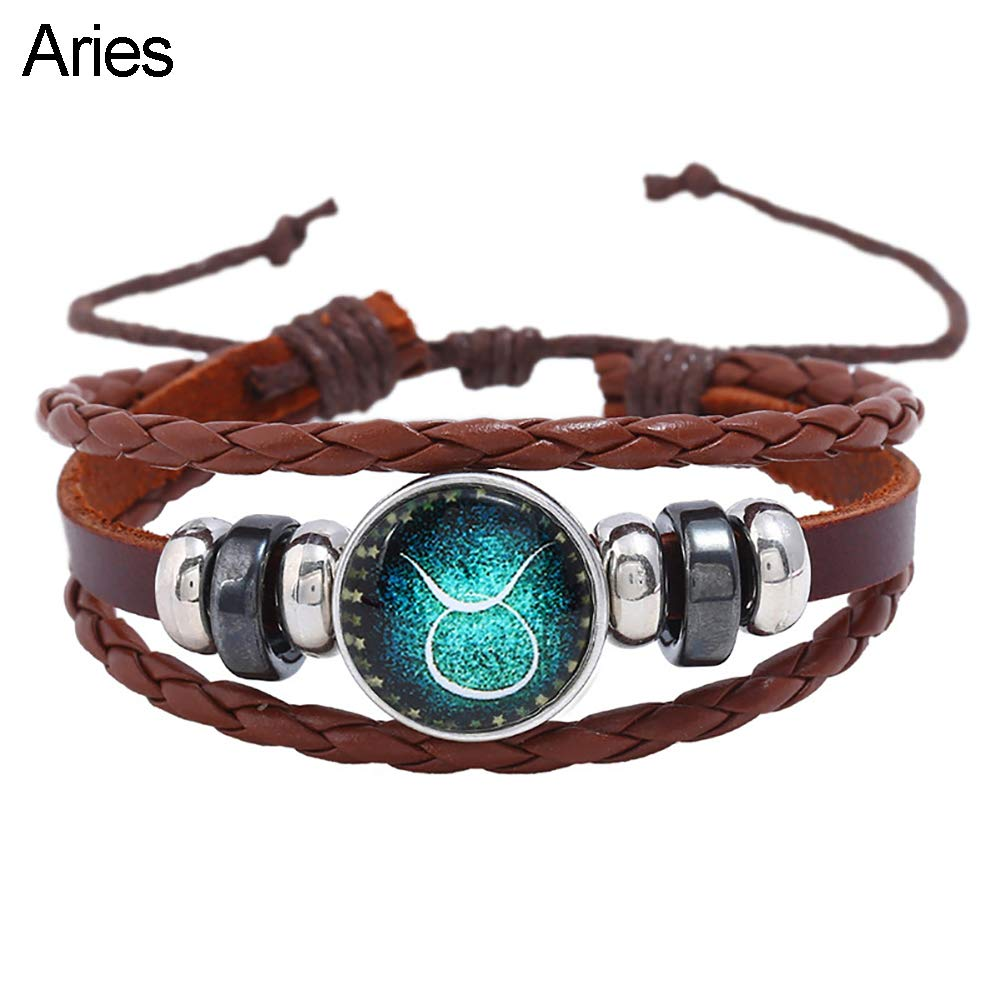 Angel3292 Retro Unisex 12 Constellations Braided Rope Multilayer Bracelet Jewelry Gift