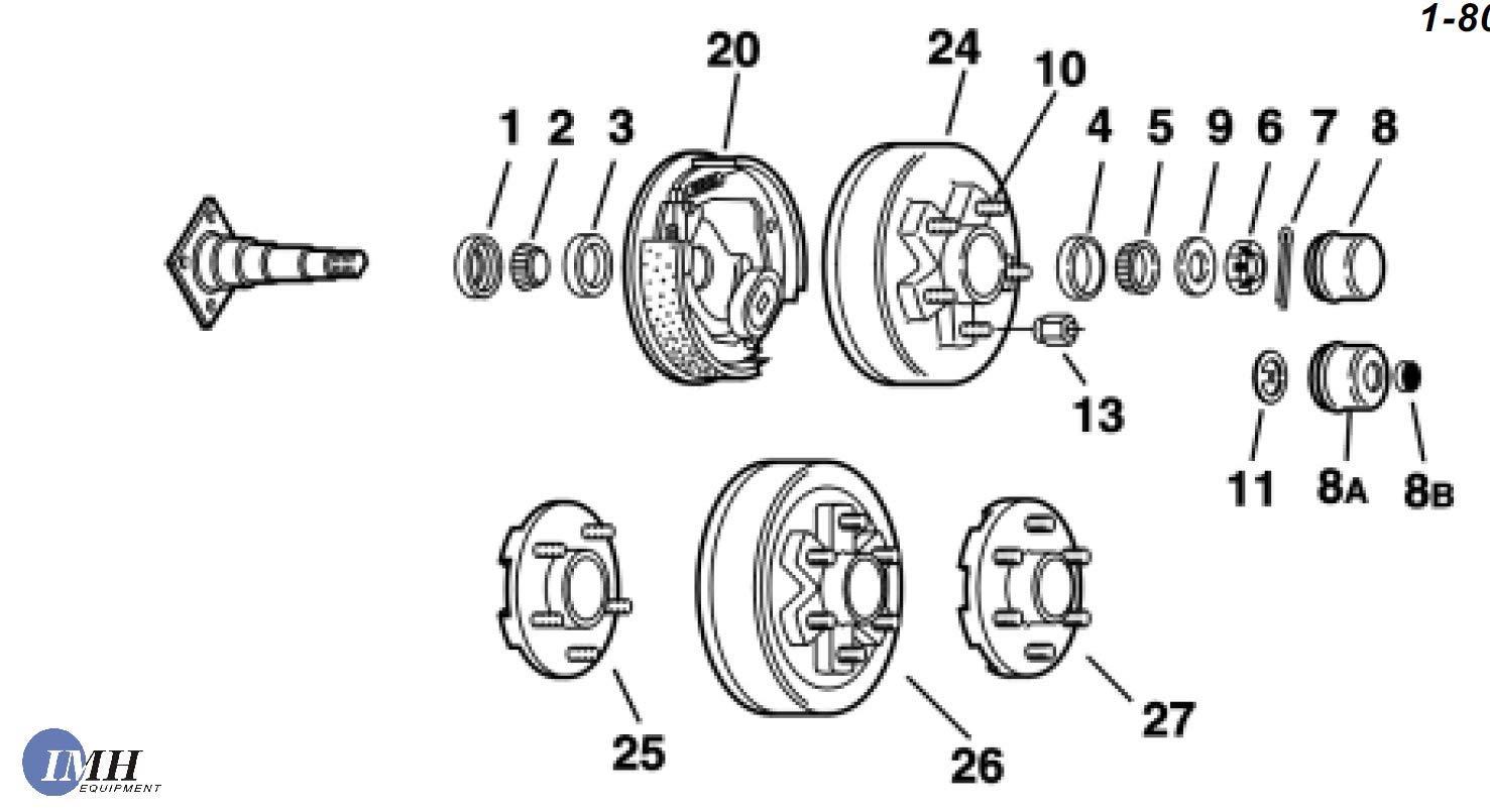 "Straight 89 Hubface - 74 IMH Equipment Trailer Axle 3,500 Lb Capacity Brake Axles 5 Lug x 4.5/"" Pitch Circle"