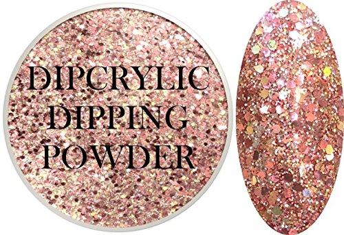 - SHEBA NAILS Dipcrylic GLITTER Dip Dipping Powder Heavy Metal GLITTER ROSE GOLD - 1oz Jar
