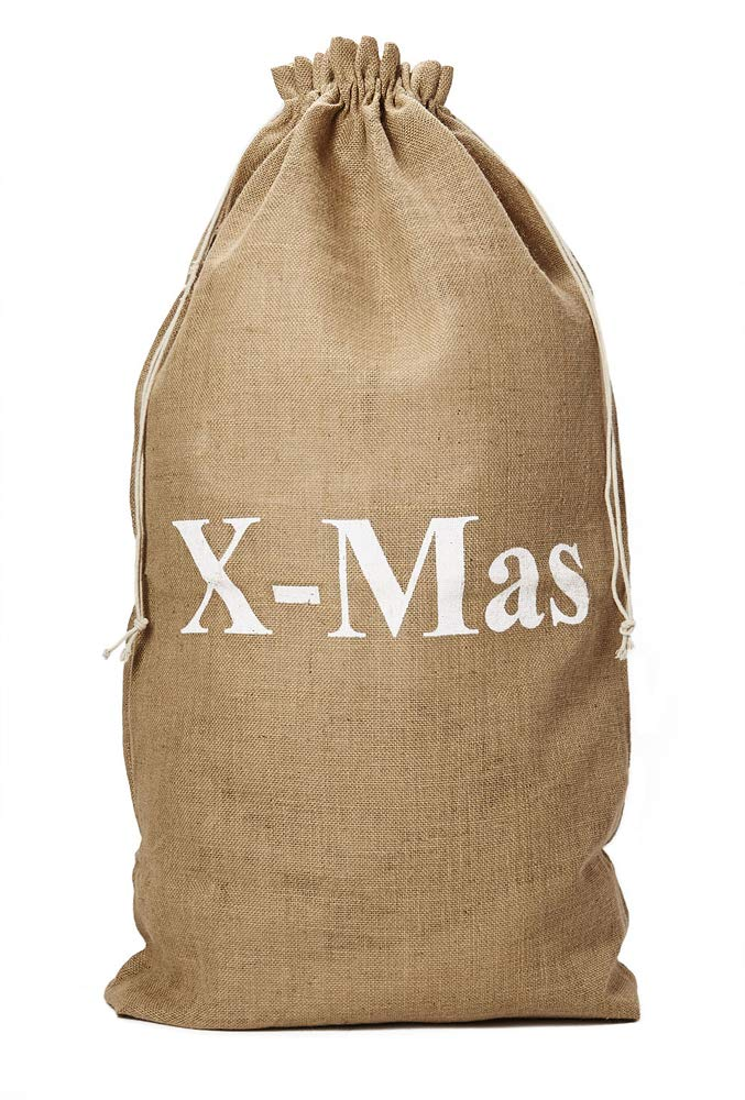 organzabeutel24 | Jutebeutel, Jutesack, Größe: 100x60 cm (Höhe x Breite) mit Baumwollkordel. Weihnachtsverpackung, Nikolaussack, Geschenksack