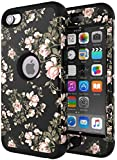 iPod Touch 5 Case,iPod Touch 6 Case,SLMY(TM)Heavy Duty High Impact Armor Case Cover Protective Case for Apple iPod touch 5 6th Generation Flower Black
