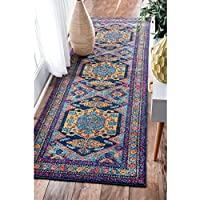 28 x 8 Bohemian Tribal Floral Multi Color Runner Rug,Navy Teal Blue Gold Polypropylene Royal Pretty Beautiful Hippy Hippie Floral Flower Soft Cozy Fancy Classy Living Room Indoor Accent Carpet