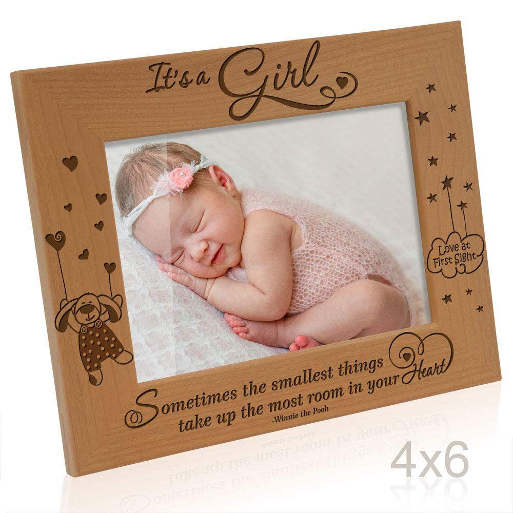 KATE POSH- It's a Girl, Sometimes the smallest things take up the most room in your Heart, Winnie The Pooh Engraved Natural Wood Picture Frame, Baby's 1st Picture, Love at First Sight (4x6 Horizontal)