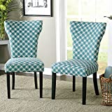 Contemporary Wood Fabric Upholstered Accent Dining Chairs with with Piping Along the Hourglass Shaped Back (Set of 2) - Includes Modhaus Living Pen (Teal/Off White)