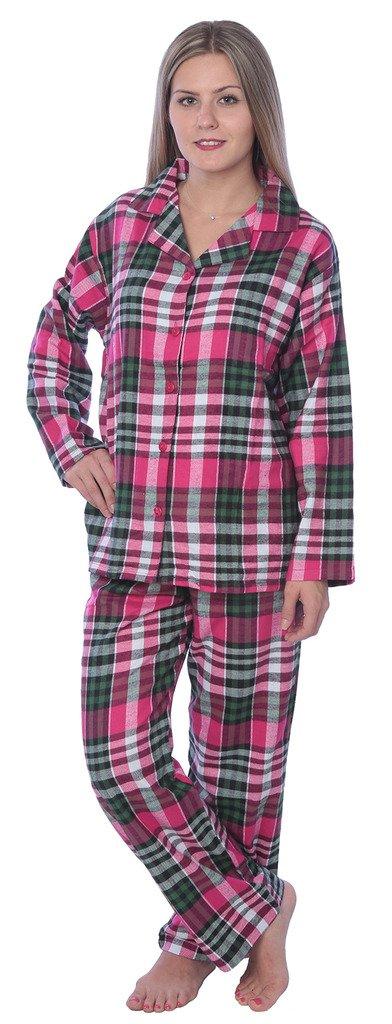 4B# Womens 100% Cotton Flannel Plaid Pajama SetAvailable in Plus Size Y17_FPJ Fuchsia/Green 4X