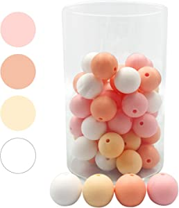 15mm 50pc Silicone Beads Loosing Beads for DIY Pacifier Clip Chew Jewelry