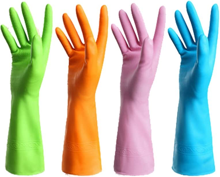 4 Pair Waterproof Reusable Dishwashing Nitrile Gloves for Car-Washing Laundry Household Cleaning Medium
