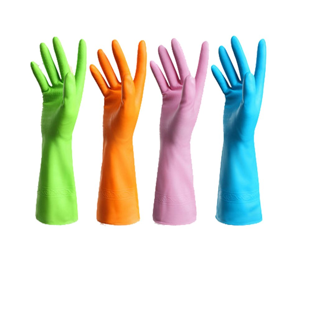 4 Pair Waterproof Reusable Dishwashing Nitrile Gloves for Car-washing Laundry Household Cleaning Medium