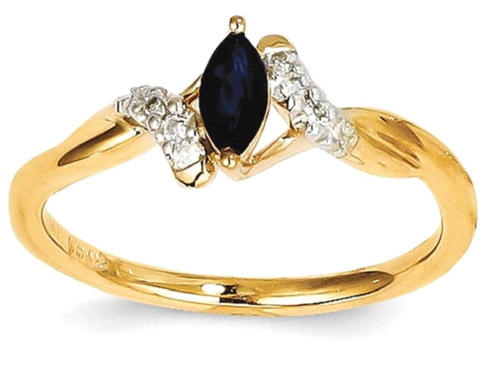 ICE CARATS 14k Yellow Gold Diamond Sapphire Band Ring Size 7.00 Stone Gemstone Fine Jewelry Gift Set For Women Heart