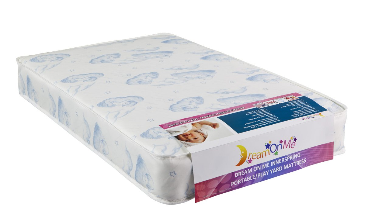 "Amazon.com : Dream On Me5"" Inner Spring Play Yard Mattress, White/Blue :  Portable Crib Mattresses : Baby"