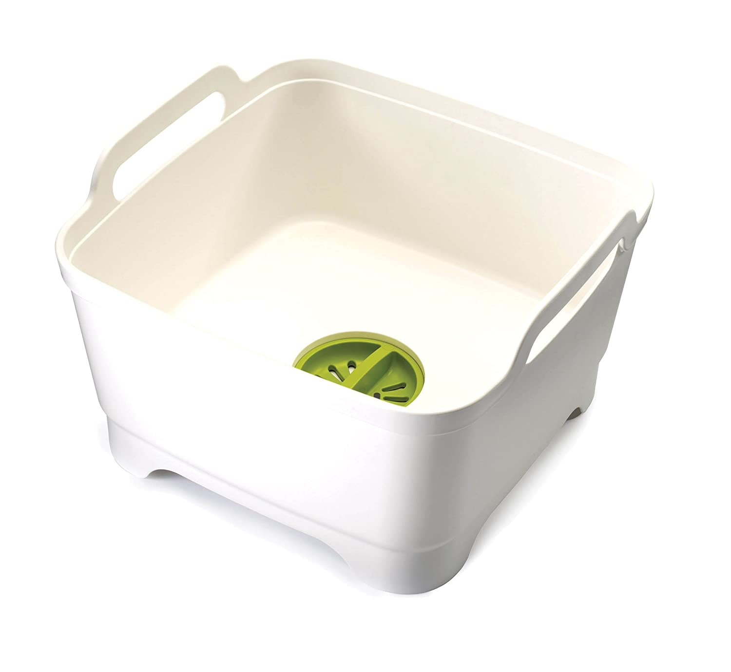 Joseph Joseph 85055 Wash & Drain Wash Basin Dishpan with Draining Plug Carry Handles 12.4-in x 12.2-in x 7.5-in, White