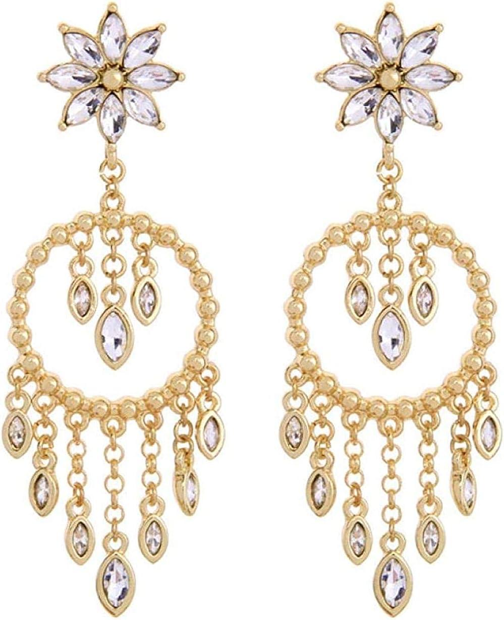 Pendientes baratos Pendientes Lady Gold Glass Crystal Flower Pendientes Lámpara de araña de moda clásica Pendientes colgantes Joyas de lujo
