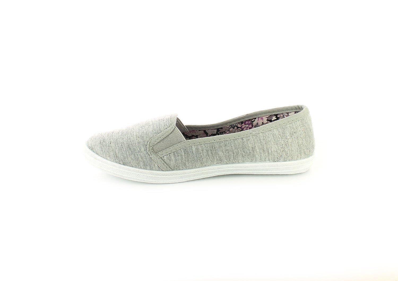 Platino Nuevo Mujer Gris Sin Cordones Elastico Escudete Zapatillas de Tela Gris - GB Tallas 3-8 - Gris, 38: Amazon.es: Zapatos y complementos