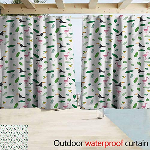 (AndyTours Window Curtains,Island Jungle Wildlife Pattern Pink Flamingos Hummingbirds Toucans and Green Palm Leaves,Blackout Draperies for Bedroom,W63x63L Inches,Multicolor)