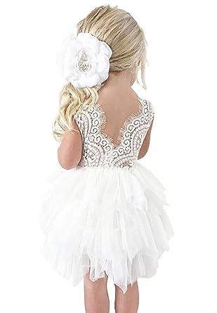 83a66833debfb AmzBarley Robes de Fille de Fleur de Dentelle de Tulle Tutu de Dos de  Petites Filles