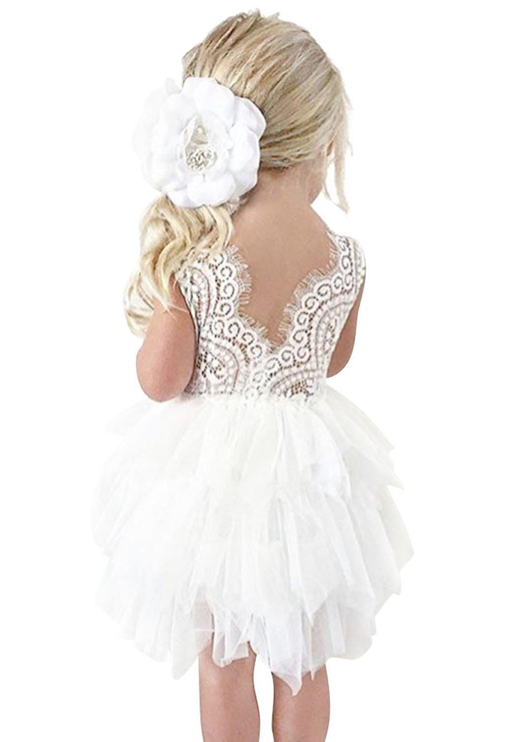 AmzBarley Little Girls Tutu Dress Backless Flower Girls Dresses Age 1-2 Years White Size 3T