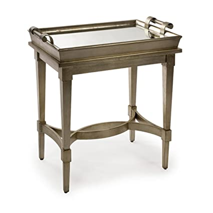 "CC Home Furnishings 28"" Distressed Antique-Inspired Mirrored Top  Wooden Butler Table - Amazon.com: CC Home Furnishings 28"