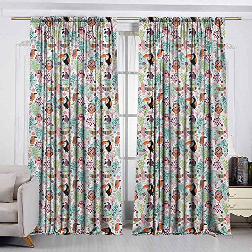 VIVIDX Decor Waterproof Curtains,Tropical,Exotic Birds Pattern Cartoon Style Toucan Owls and Parrots Hawaii Flora and Fauna,Great for Living Rooms & Bedrooms,W55x45L Inches ()