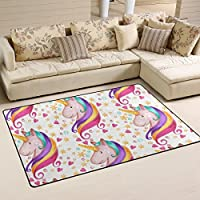 DEYYA Super Soft Modern Unicorn Area Rugs Living Room Carpet Bedroom Rug for Children Play Solid Home Decorator Floor Rug and Carpets 60 x 39 Inch