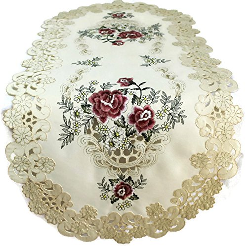 Doily Boutique Table Runner with a Red Burgundy Rose on Ivory Fabric, Size 44 x 15 - Antique Crochet Victorian