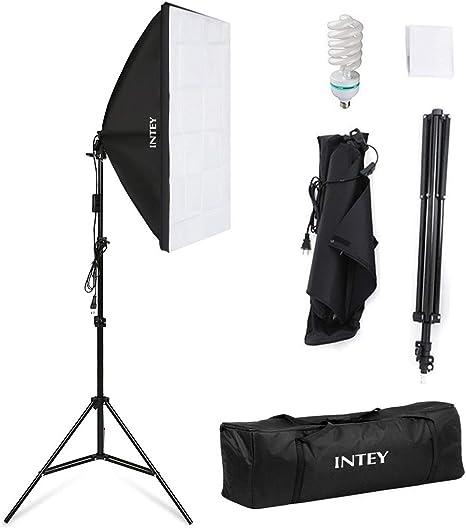 Intey Softbox Iluminacion Kit Fotografia con Luz Continua Ventana de Luz 50x70cm, Tripode, Bombilla 135W de Fotografía de Estudio Fotográfico: Amazon.es: Electrónica
