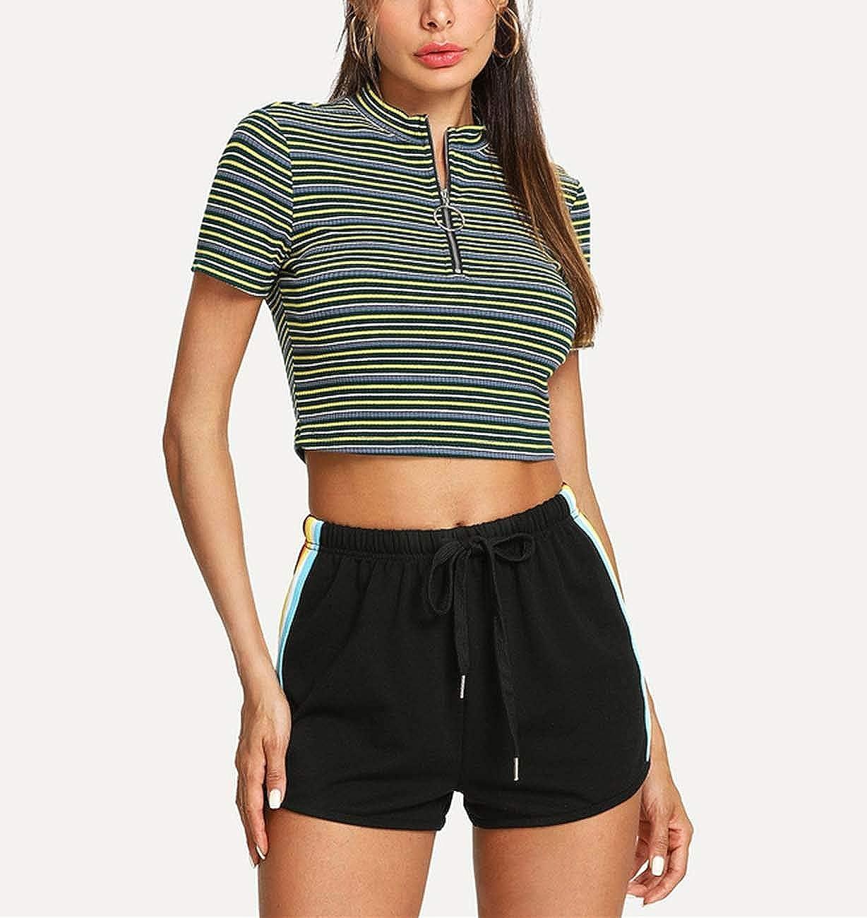 huayun Striped Side Drawstring Shorts Summer Shorts Women Black Mid Waist Sporting Shorts