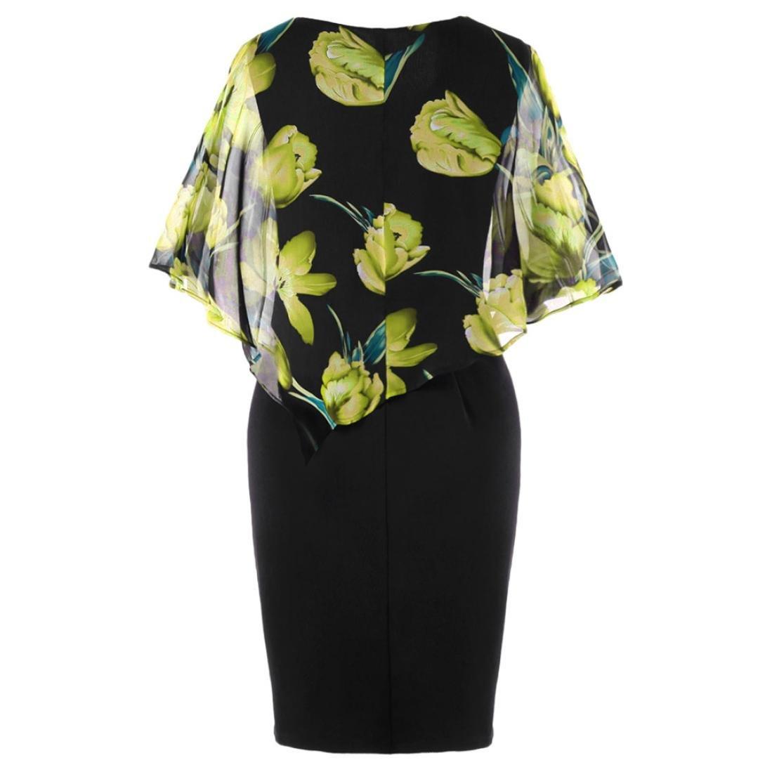 TUDUZ Sommerkleid Damen Casual Rose Print Chiffon O-Ausschnitt R/üschen Minikleid Partykleid