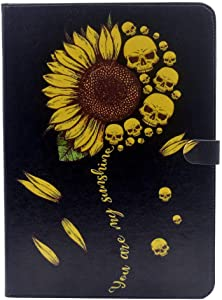 YHB Case for iPad Mini 5 2019 (5th Generation), Women Girl Gifts Kids Sunflower Skull You are My Sunshine Pattern Leather Flip Stand Case Cover for iPad Mini 5 /iPad Mini 4 7.9-inch