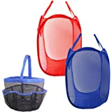 Cesta de cesto de ropa de malla de 2 piezas y 1 paquete Bolsa de ducha de malla portátil de maletín, Cestas de ropa de bolsa de SourceTon con bolsillo lateral, Azul, Rojo, Bolsa de organizador de baño colgante y artículos de tocador, Azul